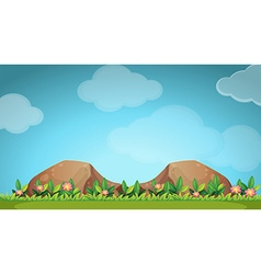 Nature scene with flower and field vector image vector image
