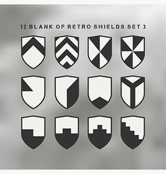 Set of shields black and white 3 vector