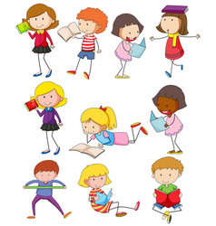 different kids reading books vector image vector image