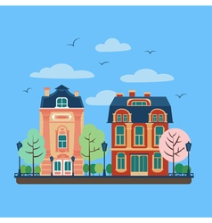 European City Urban Landscape with Vintage Houses vector image vector image
