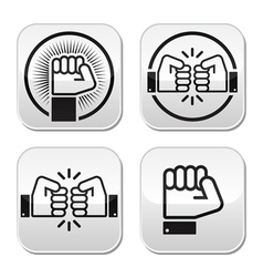 Fist fist bump buttons set vector image vector image