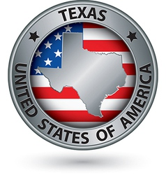 Texas state silver label with state map vector image