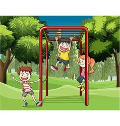 Three kids playing at the park vector image vector image