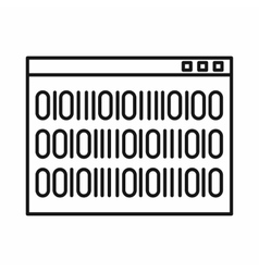 Binary code icon outline style vector image