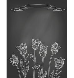 Card with tulips on chalkboard vector image vector image