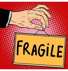 Hand sign fragile vector image vector image