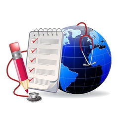 notepad and world vector image vector image