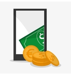 Smartphone bill coin and money design vector image