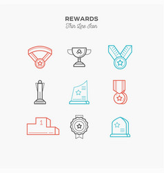 Awards medals figurines and more thin line vector