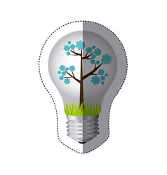 color sticker silhouette with bulb light and blue vector image