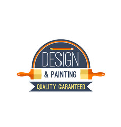 painting brush and paint design icon vector image vector image