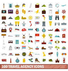 100 travel agency icons set flat style vector