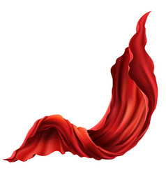 3d realistic flying flowing red fabric vector