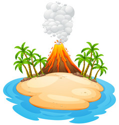 a volcano eruption island vector image