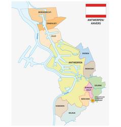 administrative map belgian city antwerp vector image