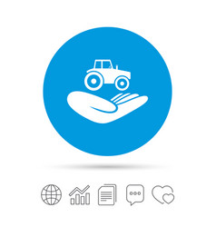 Agricultural insurance sign hand holds tractor vector