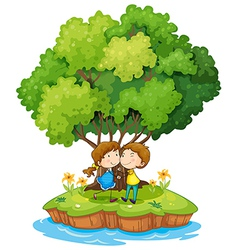 An island with a sweet couple vector image vector image
