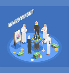 Arab people isometric composition vector