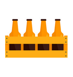 basket of bottle beer icon flat style vector image