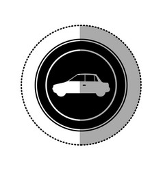 Black round emblem side car icon vector