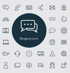 blogging outline thin flat digital icon set vector image