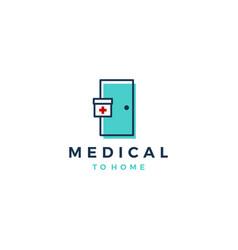 Capsule medical door delivery logo icon vector