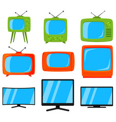 cartoon colorful 9 tv element set vector image