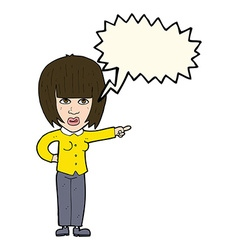 Cartoon pointing annoyed woman with speech bubble vector