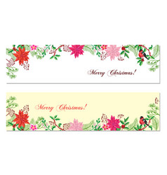 Christmas banners set with christmas decorations vector
