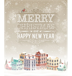 christmas city card vector image