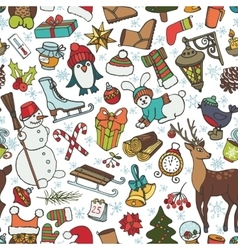 Christmas seasonDoodle symbols in seamless vector image