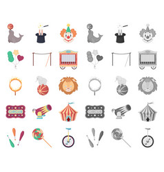 Circus and attributes cartoonmono icons in set vector