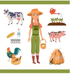 collection with cheerful ginger woman as farm vector image