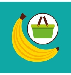 Commerce green basket tasty banana vector