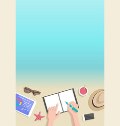 conceptual vertical summer banner businessman vector image