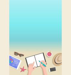 conceptual vertical summer banner businessman vector image