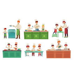 Cooks children kids baking or cooking food vector
