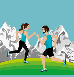 couple running in the landscape vector image
