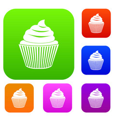 cupcake set color collection vector image