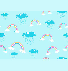 cute unicorn rainbow and rain cloud seamless vector image