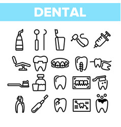 dental services stomatology linear icons vector image
