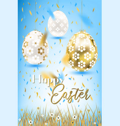Easter porceline and golden eggs in the grass vector