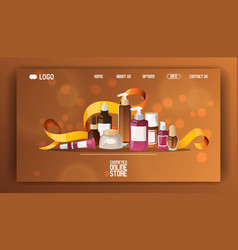 Eco cosmetic product web page skincare bio vector