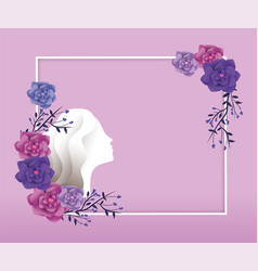 frame with woman and roses decoration to event vector image