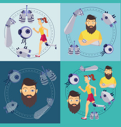 Futuristic bionic prosthesis organs banners vector