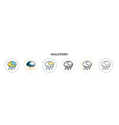 hailstorm icon in filled thin line outline and vector image