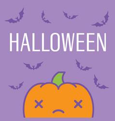 halloween card with kawaii pumpkin vector image