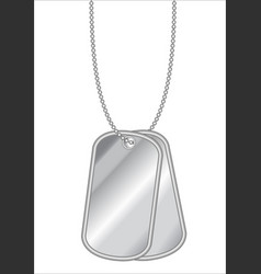 hanging stainless steel dog tag on a white vector image