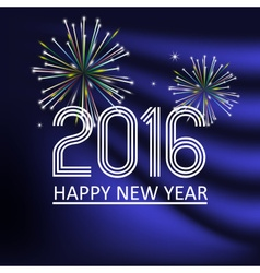 Happy new year 2016 on dark blue wave color vector