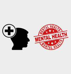 Head medicine icon and grunge mental health vector